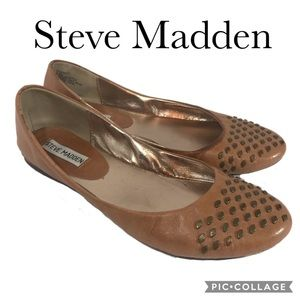 Steve Madden brown studded leather flats
